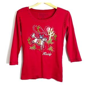 CATTLELAC RANCH • Howdy Arizona Red Tee Top